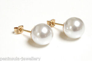 9ct Gold Pearl Studs 8mm earrings, Gift boxed Made in UK