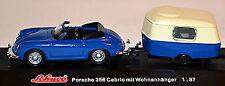 PORSCHE 356 B CABRIO con roulotte 1959-63 BLU 1:87