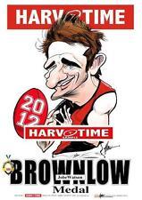 JOBE WATSON ESSENDON 2012 BROWNLOW MEDAL HARV TIME LIMITED EDITION PRINT FRAMED