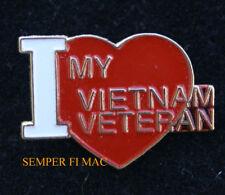 I LOVE MY VIETNAM VETERAN HAT PIN US ARMY NAVY AIR FORCE MARINES USCG VET WOW