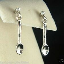 w Swarovski Crystal ~Spoon Cooking Utensil Cook Chef Wife Culinary Food Earrings