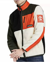 TIMBERLAND SHERPA FLEECE MEN'S JACKET, SIZE SMALL, ORANGE & WHITE, NEW WITH TAGS