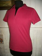 Tee shirt top polo coton rose stretch COLUMBIA S 36/38FR  manche courte Brodé