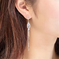 Fashion Women Long Tassel Drop Dangle Ear Stud Earrings Zircon Crystal Jewelry