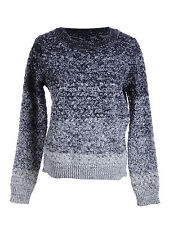 UK S/M Fit Blue Reverse Ombre Inspired Thick Woven Knit Pullover Sweater