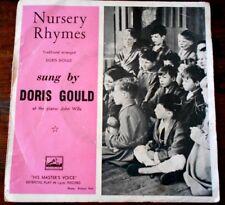 "Vintage NURSERY RHYMES SUNG BY DORIS GOULD 45 rpm EP 7"" HMV VINYL Made in Aust"