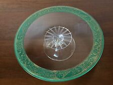 Antique HEISEY GLASS PEDESTAL CAKE PLATE with Gold Gilt Floral Trim