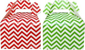 Christmas Treat Boxes - Red and Green Chevron - Gable Favor Boxes- 24 Count