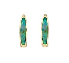 14K Yellow Gold Green Fire Opal Baby Huggie Hoop Earrings 0.4″