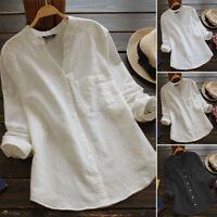 Belle Femme Loose Coton Boutonnage Manches longues Tops Hauts Shirt Chemise Plus