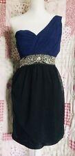New Look Size 16 Royal Blue/Black Ruched Chiffon & Satin One Shoulder Dress