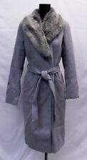 Asos Women's Tall Faux Fur Collar Coat With Tie Belt CK6 Grey Size UK:10 US:6