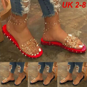Summer Womens Studded Ankle Strap Sandals Ladies Open ToeGladiator Flats Shoe