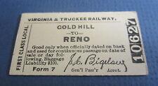 Old VIRGINIA & TRUCKEE Railway Co. Cardboard Train TICKET - GOLD HILL to RENO