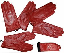 Ladies Gloves. Size (S). Red Leather winter Gloves. Leather Dress gloves BR New