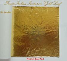 Imitation Gold Leaf Finest Italian Large Size Sheets 14cm x 14cm Arts Crafts