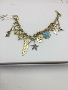 $49 Lucky Brand American Gold Tone Charm Bracelet Brand New Design #L16