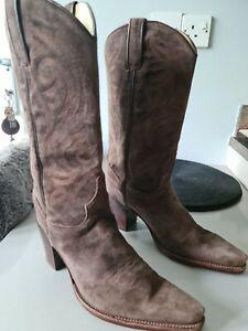 R Soles JUDY ROTHSCHILD Dark Brown Suede Cowboy Boots Size 38/UK 5