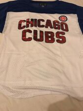 Women's G-III 4Her Carl Banks Royal Chicago Cubs WHITE JERSEY-Medium, NUOVO