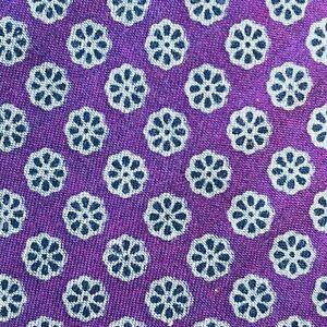 DANIEL CREMIEUX Purple Geometric 100% Cotton Skinny Slim Tie Handmade in USA NWT