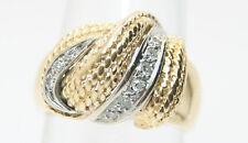 14K Yellow Gold .20 Ct Diamond Basket Weave Style Ring 1/5 Ct.