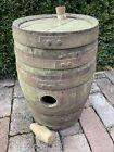 "Antique 19th C. Steel Bound Green Oak Staved 17"" Wine Port Liquor Cask Barrel"