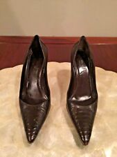 """Authentic Gucci Italy Brown Alligator 3"""" Heels - 6.5B $1040"""