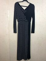 New Romatics Free People Women's Size M Long Sleeve Maxi Dress Leg Slit Striped
