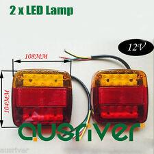 2 Trailer LED Lamp Kit Stop Indicator Light Built in Number Plate Waterproof 12V