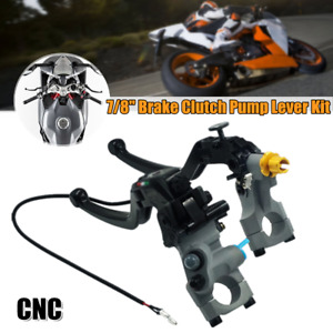 """2PC 7/8"""" 22mm CNC Motorcycle Clutch Hydraulic Master Cylinder Rod Pump Lever Kit"""