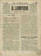 Il Lampione Giornale di Carlo Collodi Risorgimento n° 70 Vittime Lombarde 1848