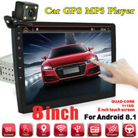 """Android 8.1 4-core 8"""" 1DIN BT Car Stereo Radio GPS Navigation W/Rearview Camera"""