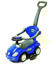 Deluxe Mega 3 in 1 Car Children's Toy Stroller & Walker Blue, w/ Working Horn!!