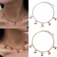 Charm Rhinestone Cherry Pendant Women Tennis Chain Choker Necklace Jewelry Gift