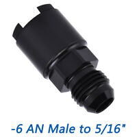"EFI Fuel Adapter Fitting -6AN Male to 5/16"" SAE Hardline Female Black Screw On"