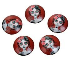 2 x 25mm Red lady skull glass cabochons