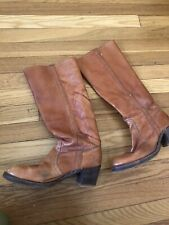 Vintage FRYE Tall Heeled Brown Leather Boots Womens Size 8 Good condition