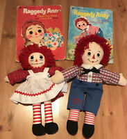 "Brand? Raggedy Ann & Andy Dolls 17"" + Large Hardcover Golden Books: 1974"