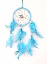 Turquoise Blue Dream Catcher Handmade w/ Leather & Feather Car Wall Home Decor
