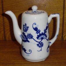 "Antique Flow Blue Ridgways England Porcelain Small Coffee Pot - 5 1/2"""