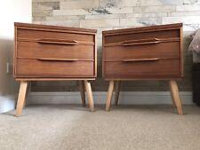 Retro Vintage matching pair large teak bedside cabinets on dansette legs 1960s