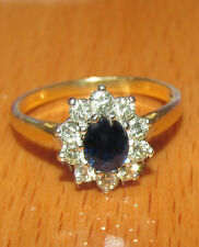 BEAUTIFUL SECONDHAND 18ct GOLD SAPPHIRE & DIAMOND CLUSTER RING SIZE N1/2
