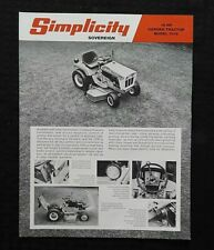 """1970s SIMPLICITY """"SOVEREIGN 7016 16 hp LAWN TRACTOR"""" BROCHURE SPECIFICATIONS"""
