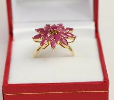 14k Solid Yellow Gold Flowers Cluster Ring, Natural Ruby 2.3TCW, Size 6.75