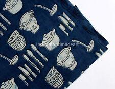 By The Yard  Indian Blue Indigo Hand Block Print 100% Cotton Fabric Dressmaking