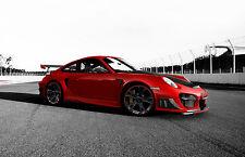 Incorniciato stampa-PORSCHE 911 GT2 supercar rosso (foto poster arte AUTO FERRARI)