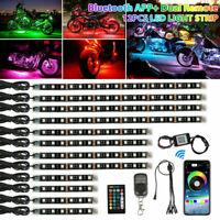 12x RGB Bluetooth Motorcycle LED Light Decor Lamp Accent Glow Neon Strip APP Kit