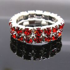 New Fashion 2Pcs Stretchy 2Rows Red Color Rhinestone Stretchy Rings