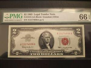 1963 $2 FR#1513 (AA Block) Red Seal Graded PMG  66 EPQ Legal Tender GEM UNC Bill