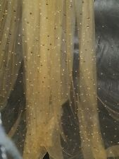 """1M GOLD PEARLS BEADED  LACE BRIDAL TULLE FABRIC 58"""" WIDE"""